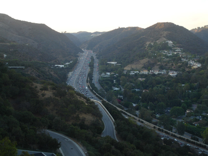 Rush hour over 405 highway - Los Angeles - California